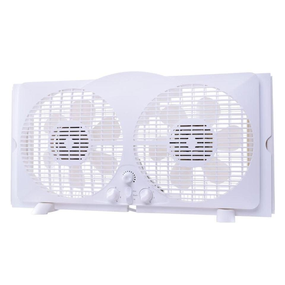 "This best-selling window fan has removable legs and molded handle that make it portable, accordion expanders, three speeds and turbo fan blades. It has a 4.3-star rating across almost 300 reviews. <a href=""https://fave.co/2YEH53D"" rel=""nofollow noopener"" target=""_blank"" data-ylk=""slk:Find it for $35 at Home Depot"" class=""link rapid-noclick-resp"">Find it for $35 at Home Depot</a>."