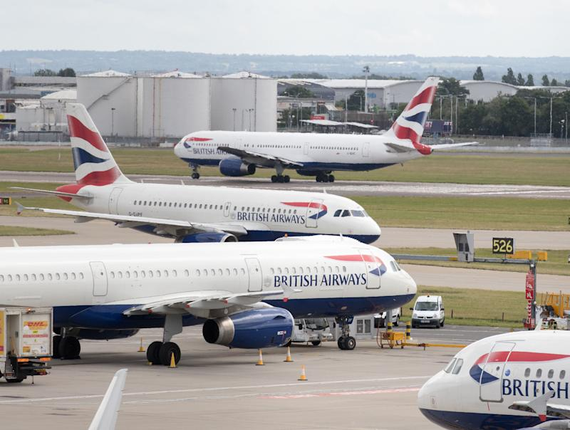 File photo dated 21/7/2017 of British Airways aircraft at London's Heathrow airport. The airline has said that it is set to be fined more than �183 million by the Information Commissioner�s Office over a customer data breach.
