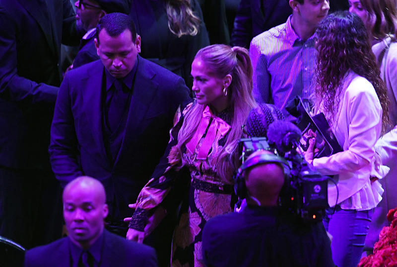 Alex Rodriguez and Jennifer Lopez depart after The Celebration of Life for Kobe & Gianna Bryant at Staples Center on February 24, 2020 in Los Angeles, California.