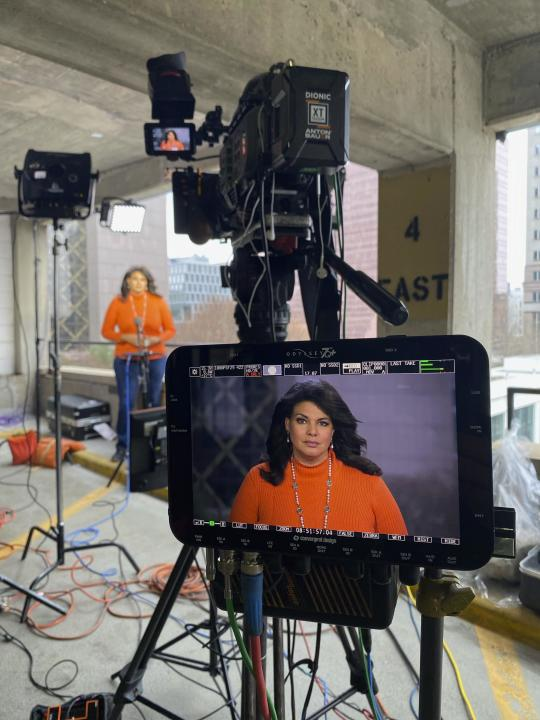 CNN National Correspondent Sara Snider appears on a monitor while reporting on former Officer Derek Chauvin's murder trial in Minneapolis, Minn., on Thursday, April 8, 2021. Chauvin is charged with murder in the death of George Floyd during an arrest last May in Minneapolis. (Jordon Guzzardo/CNN via AP)