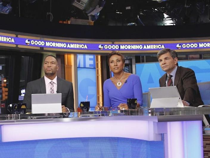 """Michael Strahan, Robin Roberts and George Stephanopoulos on the set of ABC's """"Good Morning America."""""""
