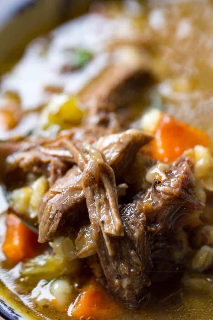 """<p>Shut that cold weather down with a hearty bowl of soup that's studded with prime rib, hearty barley and veggies.</p><p>Get the recipe from <a href=""""https://www.orwhateveryoudo.com/2019/01/beef-barley-soup-with-prime-rib.html"""" rel=""""nofollow noopener"""" target=""""_blank"""" data-ylk=""""slk:Or Whatever You Do"""" class=""""link rapid-noclick-resp"""">Or Whatever You Do</a>.</p>"""