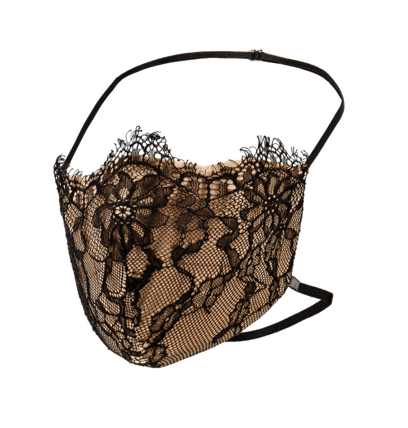 black lace and nude Provocateur Face Mask with black strap