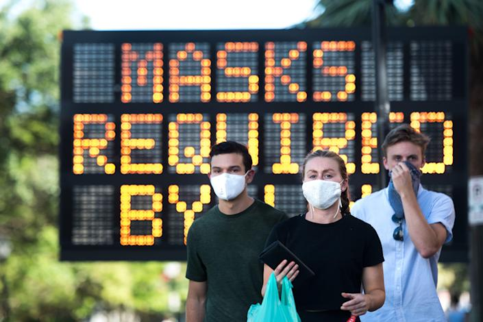 People wearing masks on July 18, 2020, in Charleston, South Carolina.
