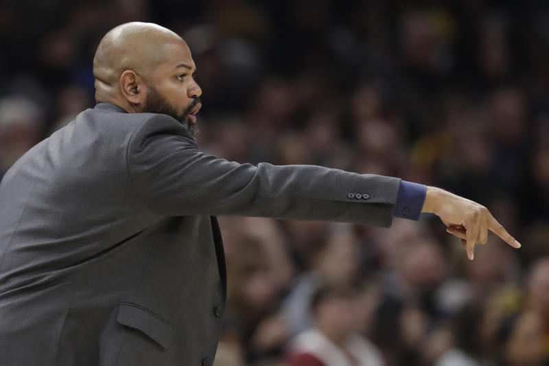 Cleveland Cavaliers head coach J.B. Bickerstaff gives instructions to players in the second half of an NBA basketball game against the Indiana Pacers, Saturday, Feb. 29, 2020, in Cleveland. Indiana won 113-104. (AP Photo/Tony Dejak)