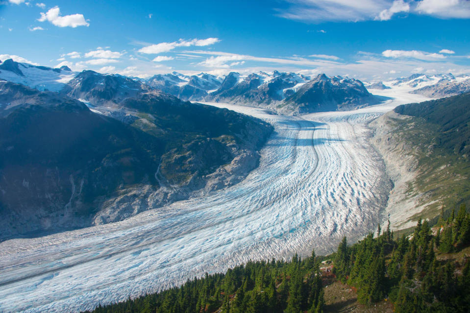 This September 2017 photo provided by researcher Brian Menounos shows the Klinaklini glacier in British Columbia, Canada. The glacier and the adjacent icefield lost about 15 gigatons of water from 2000-2019, Menounos says. And the rate of loss accelerated over the last five years of the study. (Brian Menounos via AP)