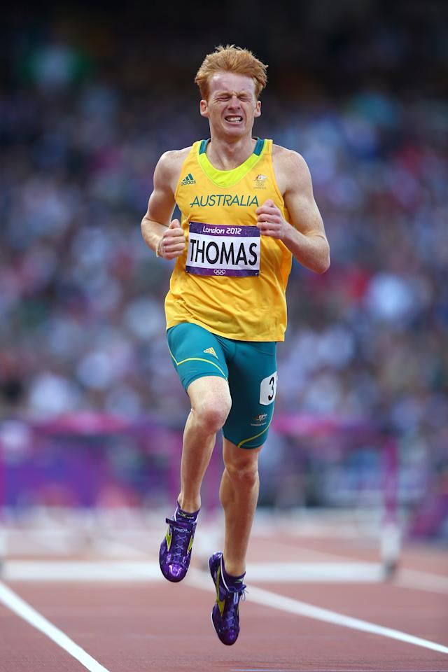 LONDON, ENGLAND - AUGUST 04:  Tristan Thomas of Australia competes in the Men's 400m Hurdles Semi Final on Day 8 of the London 2012 Olympic Games at Olympic Stadium on August 4, 2012 in London, England.  (Photo by Michael Steele/Getty Images)