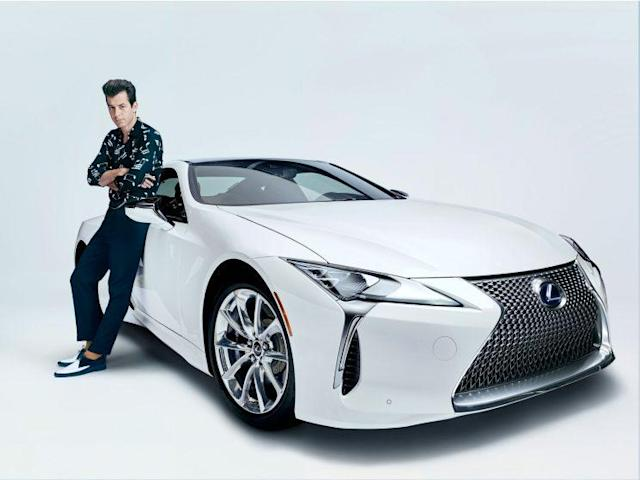 Mark Ronson posing with the new Lexus LC 500h. (Photo: Courtesy of Lexus)