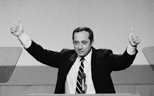 Mario Cuomo gives the thumbs-up during his 1984 keynote address to the opening session of the Democratic National Convention. (AP Photo/File)