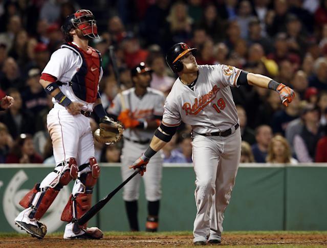 Baltimore Orioles' Chris Davis (19) drops his bat as Boston Red Sox catcher Jarrod Saltalamacchia stands behind the pate after hitting a solo home run in the sixth inning of a baseball game at Fenway Park in Boston, Tuesday, Sept. 17, 2013. (AP Photo/Elise Amendola)