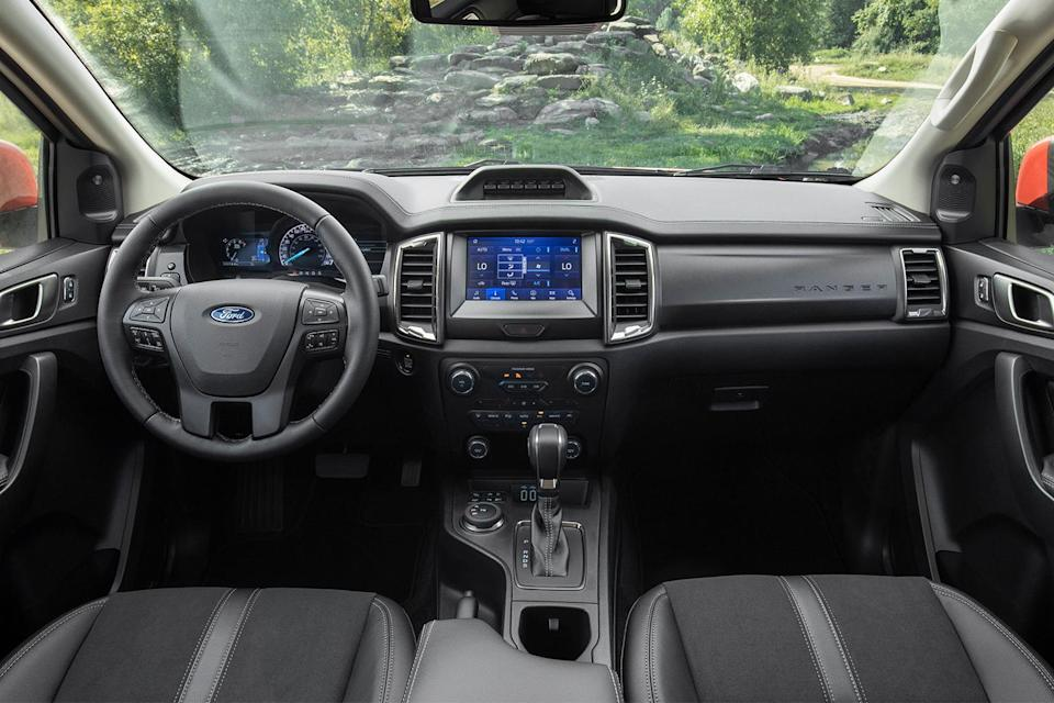 The front two seats of the 2021 Ford Ranger Tremor pickup truck