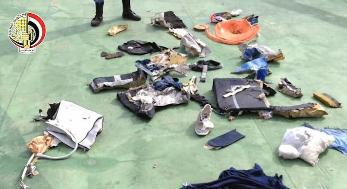Picture on the official Facebook page of the Egyptian military spokesperson shows part of debris found by search teams looking for the EgyptAir flight which plunged into the Mediterranean (AFP Photo/HO)