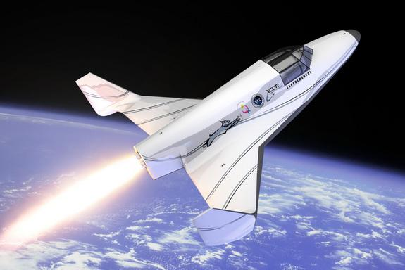 An artist's depiction of XCOR Aerospace's Lynx spacecraft launching into space.