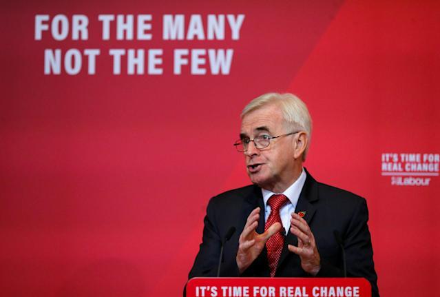 Britain's MP John McDonnell speaks during Labour party campaign event in Liverpool, Britain, on 7 November. Photo: Phil Noble/Reuters