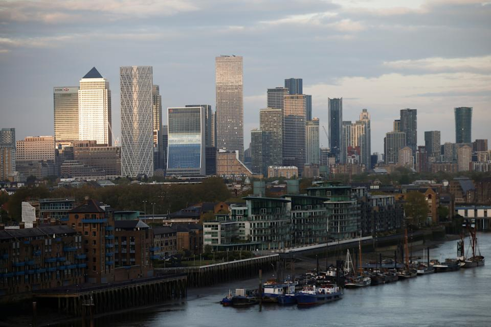 The City of London is pictured on 8 May, 2021. (REUTERS)