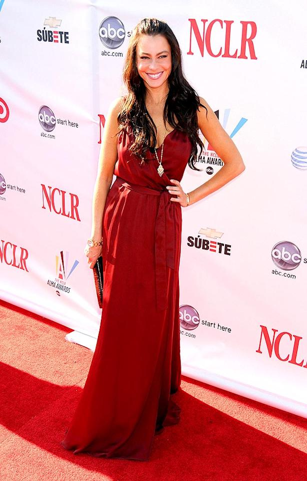 """Colombian actress/model Sofia Vergara (""""Dirty Sexy Money"""") looked ravishing in red. Greg DeGuire/<a href=""""http://www.wireimage.com"""" target=""""new"""">WireImage.com</a> - August 17, 2008"""