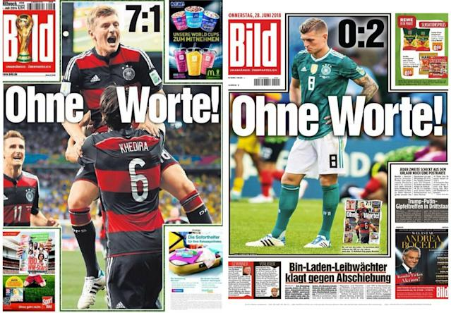 Bild headlines from Germany's 7-1 win over Brazil in 2014 and its 2-0 loss to South Korea in 2018. (Photo via Reddit)