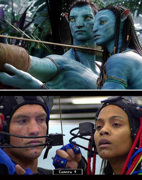 <b>Avatar</b> James Cameron's 'Avatar', the highest grossing film of all time, was filmed entirely with state-of-the-art motion-capture technology that had been over a decade in the making. Still, the raw footage is surprisingly lacking in the epic. Actors Sam Worthington and Zoe Saldana spent 31 days wearing skull-caps and blue dots in an aircraft hanger to film their original scenes.