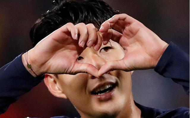 Son Heung-min celebrates - and sends a message? - Action Images via Reuters