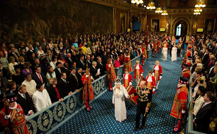 Queen Elizabeth II and Prince Philip in Royal Gallery in the Palace of Westminster, home to the Houses of Parliament, in London on May 9, 2012 during the State Opening of Parliament.