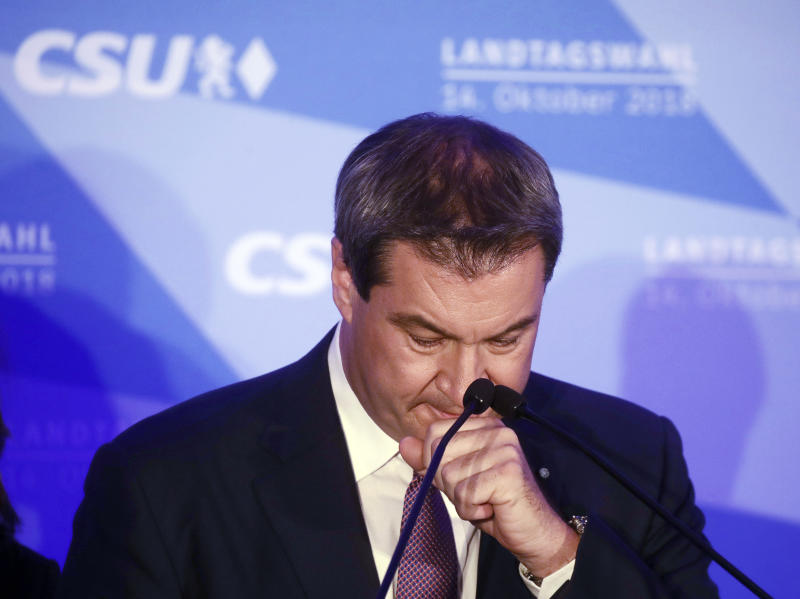 Bavarian governor Markus Soeder reacts during his first appearance after the first exit polls for the Bavarian state election in Munich, southern Germany, Sunday, Oct. 14, 2018. (Michel Kappeler/dpa via AP)