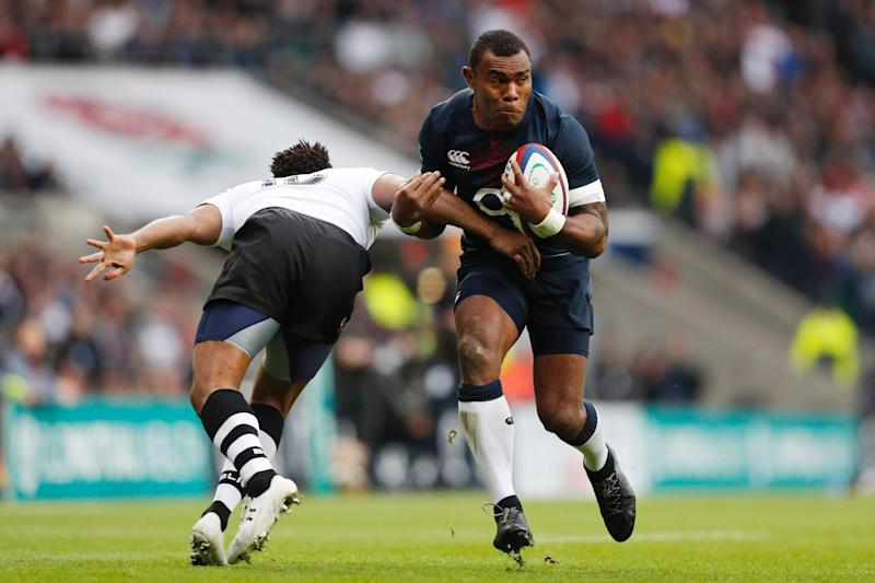 Soldier and winger: Semesa Rokoduguni in action for England against Fiji: ADRIAN DENNIS/AFP/Getty Images
