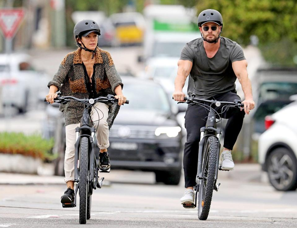 <p>Chris Hemsworth and wife Elsa Pataky to enjoy a bike ride together on Wednesday in Sydney Australia. </p>