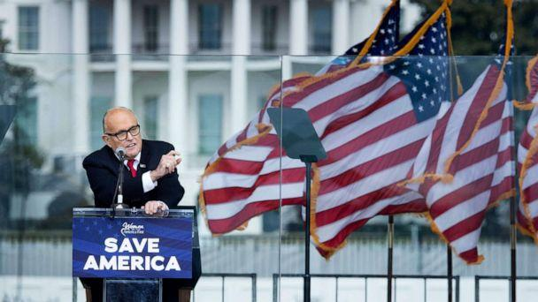 PHOTO: US President Donald Trump's personal lawyer Rudy Giuliani speaks to supporters from The Ellipse near the White House on January 6, 2021, in Washington, DC.  (Brendan Smialowski/AFP via Getty Images)