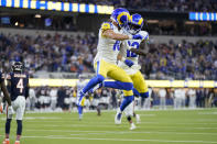 Los Angeles Rams wide receiver Cooper Kupp, center right, celebrates with teammate wide receiver Van Jefferson, right, after scoring a touchdown during the second half of an NFL football game against the Chicago Bears, Sunday, Sept. 12, 2021, in Inglewood, Calif. (AP Photo/Marcio Jose Sanchez)