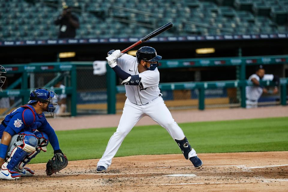 Tigers third baseman Isaac Paredes bats against the Cubs during the second inning at Comerica Park on Tuesday, Aug. 25, 2020.