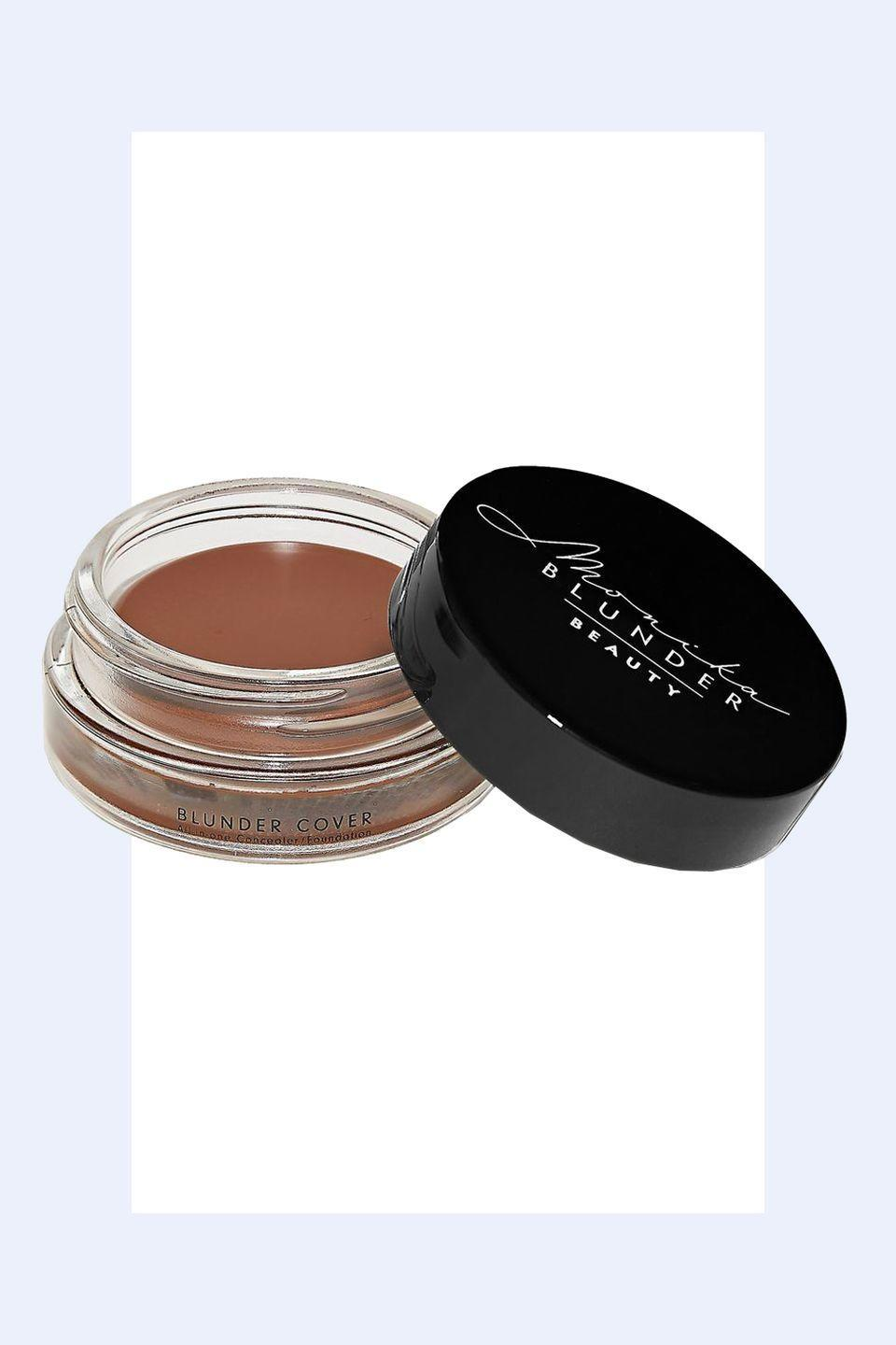 """<p><a class=""""link rapid-noclick-resp"""" href=""""https://go.redirectingat.com?id=74968X1596630&url=https%3A%2F%2Fmonikablunderbeauty.com%2Fproducts%2Fshade-9-neun&sref=https%3A%2F%2Fwww.redbookmag.com%2Fbeauty%2Fg36983579%2Fhow-to-look-younge1%2F"""" rel=""""nofollow noopener"""" target=""""_blank"""" data-ylk=""""slk:SHOP NOW"""">SHOP NOW </a><em> Monika Blunder Beauty Blunder Cover, $52</em></p><p><em>""""</em>The trick with foundation is to <strong>not use more than you need</strong> to. If you have large areas of skin which is clear, such as your cheeks and forehead, you should leave it with just a little coverage or just skincare. Then, spot correct in the areas where you have discoloration or redness.""""—<em>Monika Blunder, celebrity makeup artist and founder of Monika Blunder Beauty</em><em><br></em></p>"""