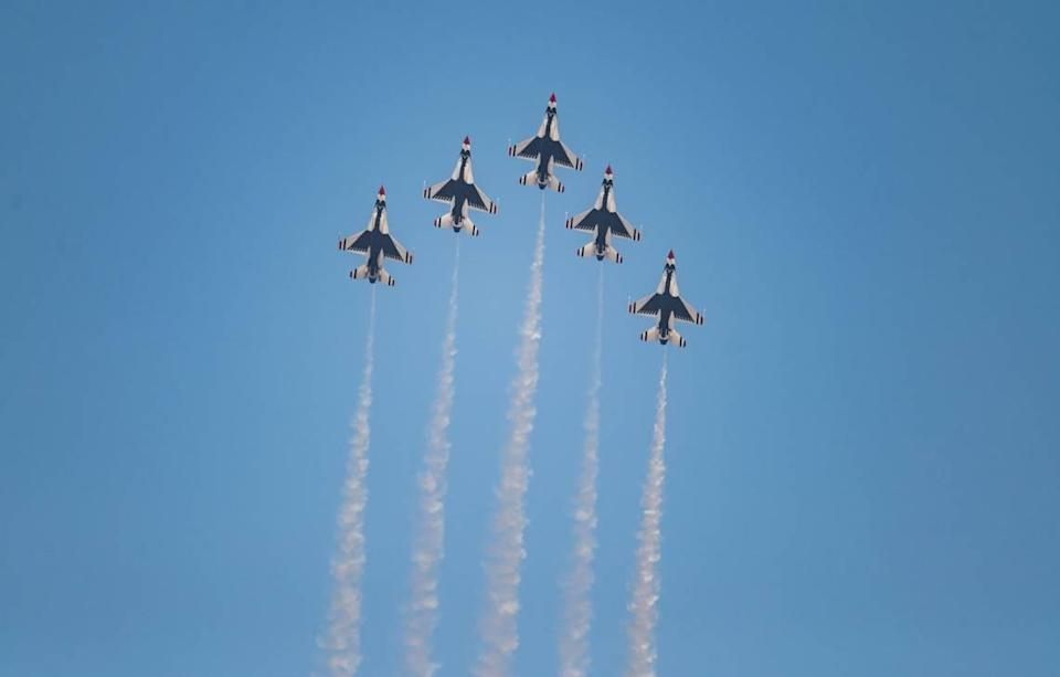 """The U.S. Air Force Air Demonstration Squadron """"Thunderbirds"""" perform at the California Capital Airshow on Friday, Sept. 24, 2021, at Mather Airport in Sacramento."""
