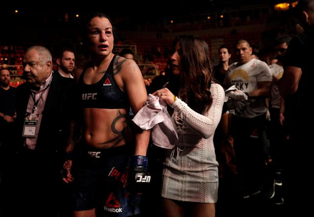 Ultimate Fighting Championship - UFC 224 - Amanda Nunes vs Raquel Pennington - Jeunesse Arena, Rio de Janeiro, Brazil - May 12, 2018 Raquel Pennington of U.S leaves the cage with her fiancee Tecia Torres . REUTERS/Ricardo Moraes