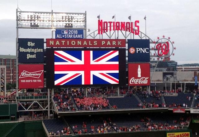 <p>The Union Jack is displayed on a giant screen during the observance of a Moment Of Silence for the Manchester attack victims, at Nationals Park, home of the Nationals major league baseball team, in Washington, D.C., on May 24, 2017. (Susan Stumme/AFP/Getty Images) </p>
