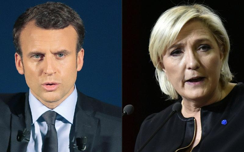 Emmanuel Macron, centrist French presidential candidate of the En Marche! (Onwards!) movement (L) and Marine Le Pen, far-Right presidential candidate (R) - AFP
