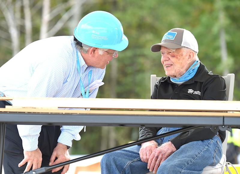 Former President Jimmy Carter (right) at the Carter Work Project construction site with Habitat for Humanity in Nashville, Tennessee, earlier this month | AFF-USA/Shutterstock