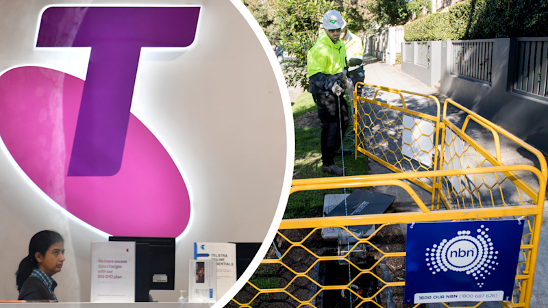 Pictured: Telstra logo and NBN operators. Images: AAP