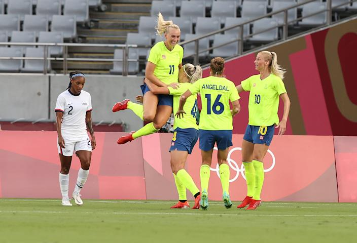 Stina Blackstenius (11) and Sweden dominated the USWNT in their Olympic opener. (Photo by Ian MacNicol/Getty Images)
