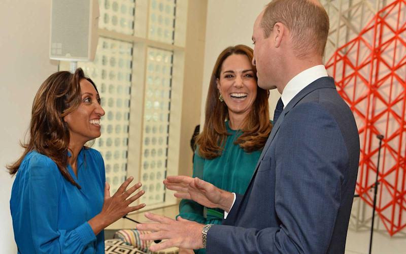 Britain's Prince William, Duke of Cambridge and Britain's Catherine, Duchess of Cambridge chat with English stand-up comedian Shazia Murza during a visit to the Aga Khan Centre in London on October 2, 2019. | JEFF SPICER/Getty Images