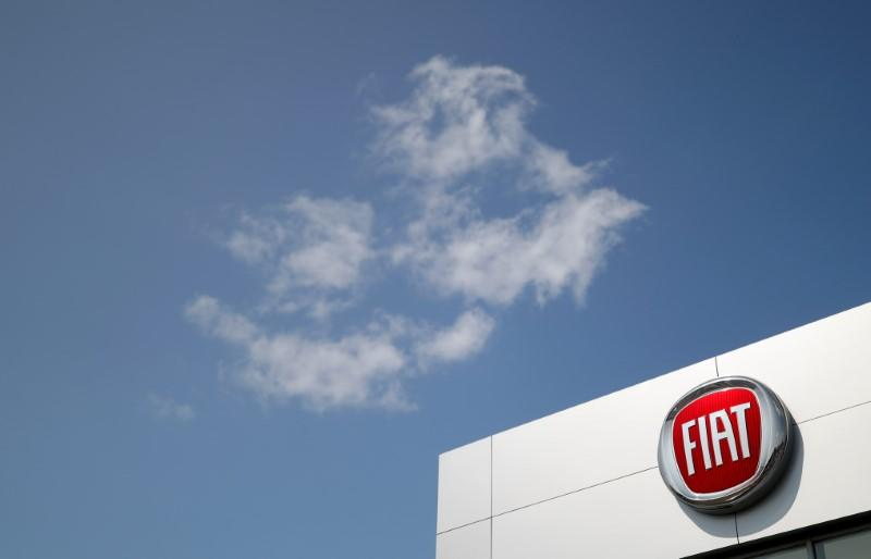 The logo of Fiat carmaker is pictured at a dealership in Orvault near Nantes
