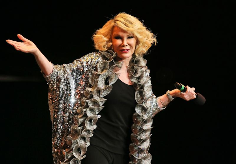 "Joan Rivers performs on stage as part of the The Prince's Trust comedy gala ""We Are Most Amused"" at Royal Albert Hall on November 28, 2012 in London. (Christie Goodwin/Getty Images)"