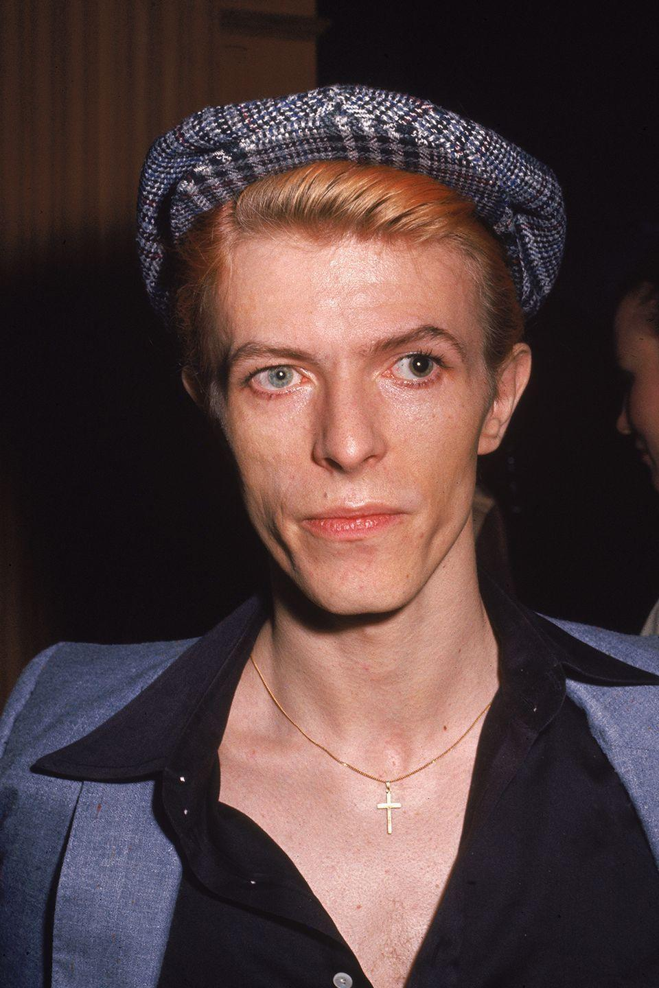 """<p>Bowie stopped by the popular late night TV show <em>The Dick Cavett Show</em> for a <a href=""""https://www.youtube.com/watch?v=RSSf3k4UU64"""" rel=""""nofollow noopener"""" target=""""_blank"""" data-ylk=""""slk:half-hour interview"""" class=""""link rapid-noclick-resp"""">half-hour interview</a> that's still remembered today. The signer's nervous laughing, lack of eye contact, and fidgeting throughout was said to be fueled by cocaine—a drug he <a href=""""https://www.rollingstone.com/music/news/inside-david-bowies-station-to-station-w462438"""" rel=""""nofollow noopener"""" target=""""_blank"""" data-ylk=""""slk:reportedly"""" class=""""link rapid-noclick-resp"""">reportedly</a> did regularly in the 70s. </p>"""