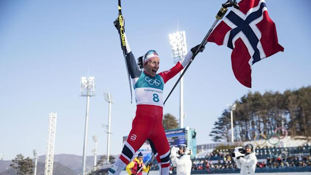 Marit Bjoergen ended her 16-year Olympic career with an eighth gold, ensuring Norway finish the Pyeongchang Games on top of the medal table.