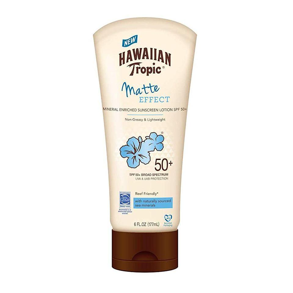 """<p><strong>Hawaiian Tropic</strong></p><p>amazon.com</p><p><strong>$12.99</strong></p><p><a href=""""https://www.amazon.com/Hawaiian-Tropic-Effect-Sunscreen-Lotion/dp/B07YP575PH/?tag=syn-yahoo-20&ascsubtag=%5Bartid%7C10055.g.1288%5Bsrc%7Cyahoo-us"""" rel=""""nofollow noopener"""" target=""""_blank"""" data-ylk=""""slk:Shop Now"""" class=""""link rapid-noclick-resp"""">Shop Now</a></p><p>For a lightweight, more affordable option, this sunscreen is <strong>gentle on the skin</strong> <strong>and provides just enough hydration</strong> (though you might need an extra layer of moisturizer if your skin is on the dry side). This sunscreen also ranked well among testers with darker skin tones, who reported seeing little to no white cast. It also has a pleasant, mild scent. Just keep in mind that the texture can be a bit tacky and runny. </p>"""