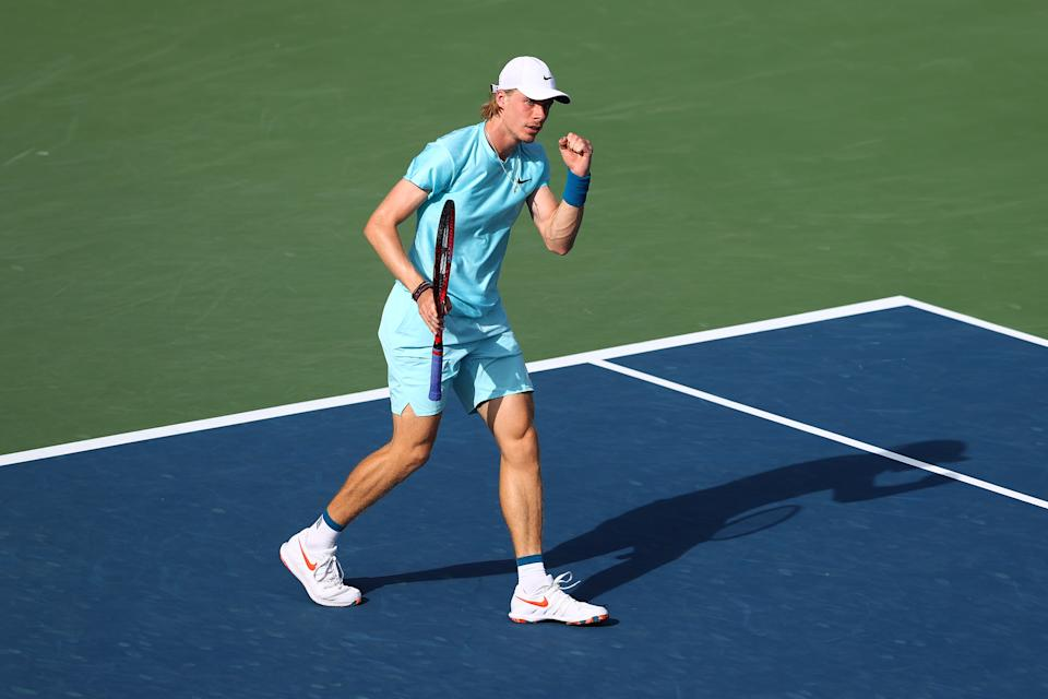 Denis Shapovalov celebrates a point in his Quarter-Final singles match against Jeremy Chardy of France during Day Twelve of the Dubai Duty Free Tennis Championships at Dubai Duty Free Tennis Stadium on March 18, 2021 in Dubai, United Arab Emirates.