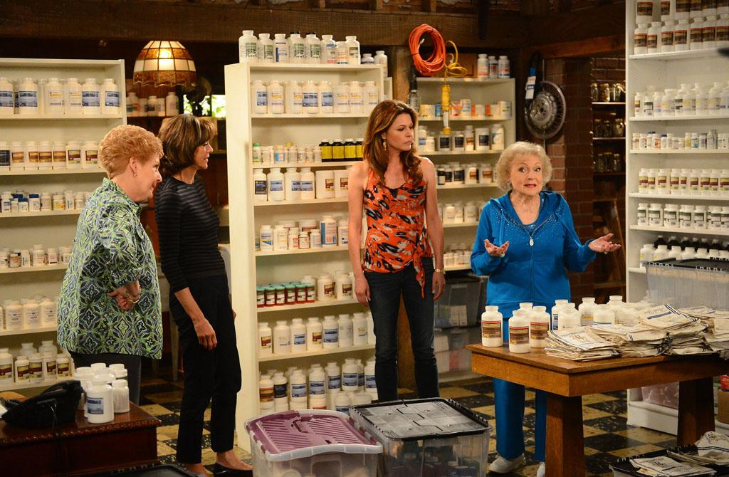 "Georgia Engel, Wendie Malick, Jane Leeves and Betty White attend TV Land's ""Hot in Cleveland"" Live Show on June 19, 2013 in Studio City, California."