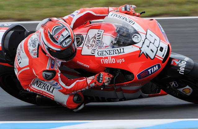 Nicky Hayden of the US rides his Ducati during the Moto GP class qualifying practice session of the motorcycle Grand Prix of Japan at Twin Ring Motegi circuit in Motegi on October 1, 2011. Australian Moto GP world championship leader Casey Stoner will start on pole at the Grand Prix of Japan after recording the fastest time in qualifying on October 1.AFP PHOTO / TOSHIFUMI KITAMURA (Photo credit should read TOSHIFUMI KITAMURA/AFP/Getty Images)