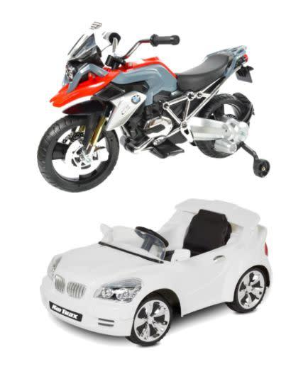 Full price: $130 to $150<br><span>BMW Motorcycle sale price: $85</span><br><span>Kid Trax Custom Coupe sale price: $85</span>