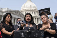 """Guillén family attorney Natalie Khawam, left, Lupe Guillén, and Gloria Guillén, Vanessa Guillén's sister and mother, speak during a news conference about the """"I Am Vanessa Guillén Act,"""" in honor of the late U.S. Army Specialist Vanessa Guillén, and survivors of military sexual violence, during a news conference on Capitol Hill, Wednesday, Sept. 16, 2020, in Washington. (AP Photo/Alex Brandon)"""