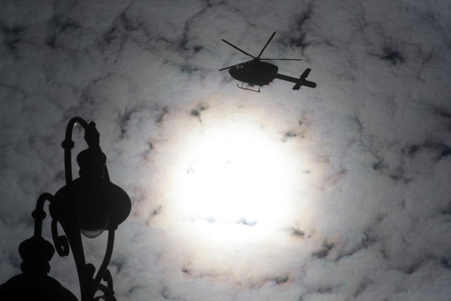A Hungarian police helicopter. Photo: AP Photo/Laszlo Balogh